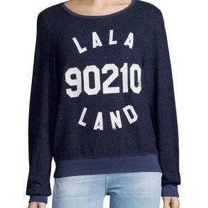 Wildfox LaLa Land Navy Pullover Sweatshirt 90210